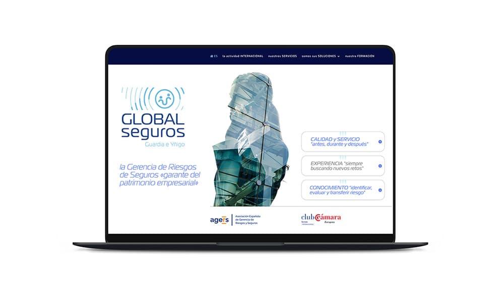 Global Seguros,  gerencia de riesgos. Web profesional de servicios.
