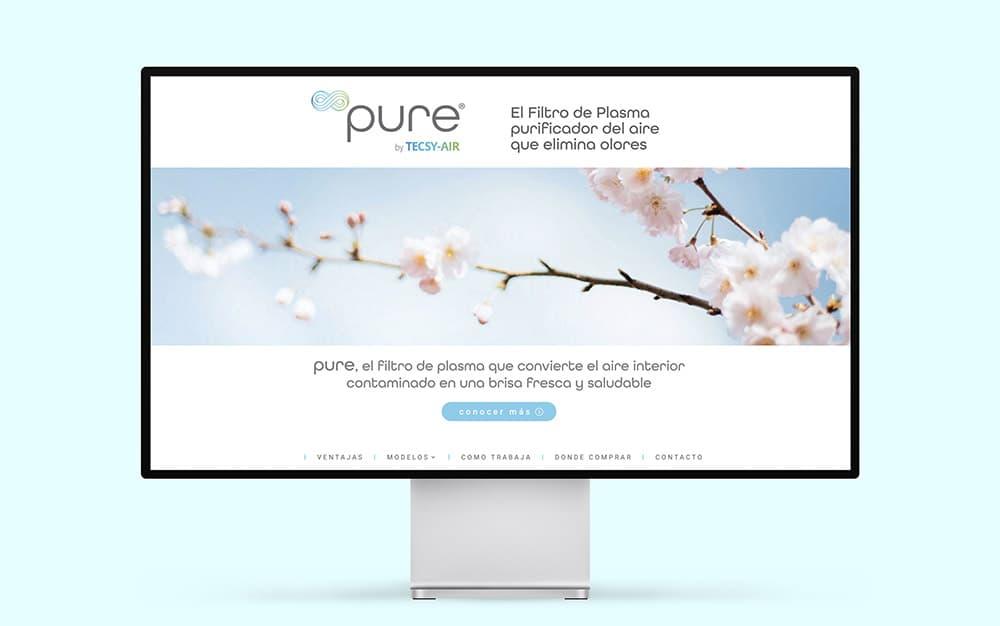 Filtro de plasma PURE, imagen de marca y web profesional